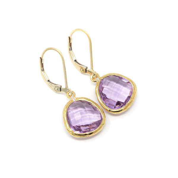 Lilac Jewel Earrings With Gold Filled Leverback Ear Wires - Jacaranda