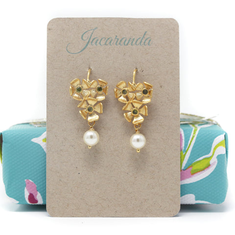 Gold Floral Earrings With Olive Green Cubic Zirconia and Cream Pearl Beads - Jacaranda