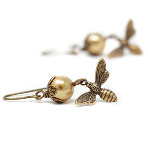 Gold Bumble Bee Dangle Earrings - Jacaranda