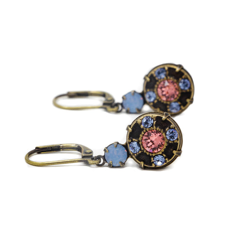 Vintage Blue Crystal Dangle Earrings With Pink Crystal Center - Jacaranda