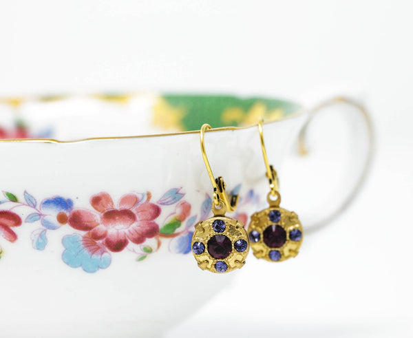 Mauve Crystal Dangle Earrings Set in Gold Brass With Plum Crystal Center - Jacaranda