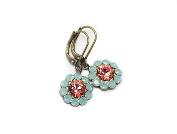 Coral and Mint Green Crystal Earrings - Jacaranda