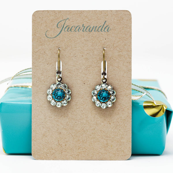 Mint Green Crystal Earrings With Teal Center - Jacaranda
