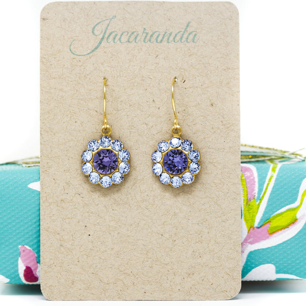 Mauve and Purple Crystal Earrings - Jacaranda