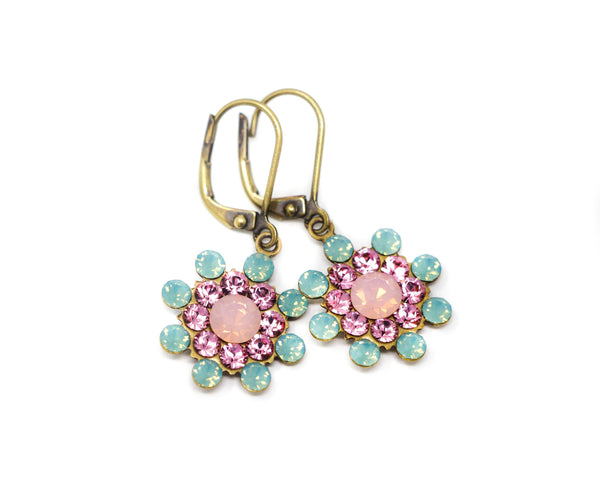 Crystal Flower Earrings - Mint Green Earrings with Pink Centers - Jacaranda