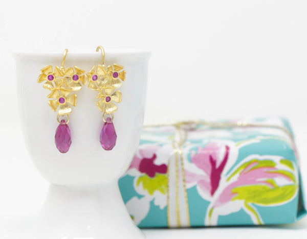 Gold Floral Earrings With Magenta Pink Cubic Zirconia and Pink Swarovski Crystals - Jacaranda