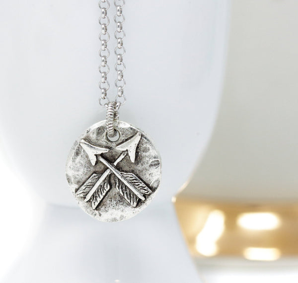 Silver Lovers Crossed Arrows Pendant Necklace - Jacaranda