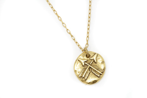 Gold Lovers Crossed Arrows Pendant Necklace - Jacaranda