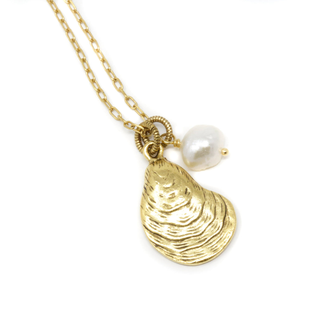 Brass Oyster Shell Necklace With Freshwater Pearl - Jacaranda