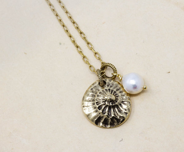 Brass Circular Shell Necklace With Freshwater Pearl - Jacaranda