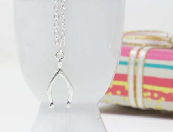 Silver Wishbone Necklace - Jacaranda