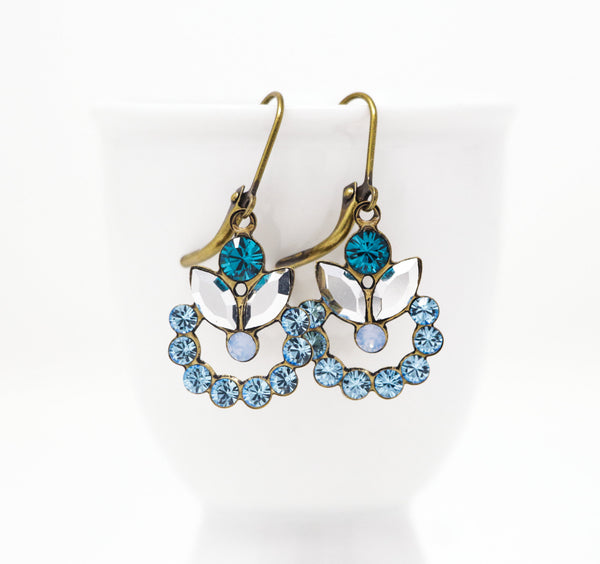 Blue Vintage Crystal Earrings -  Swarovski Earrings - Teal Blue, Sky Blue and Clear