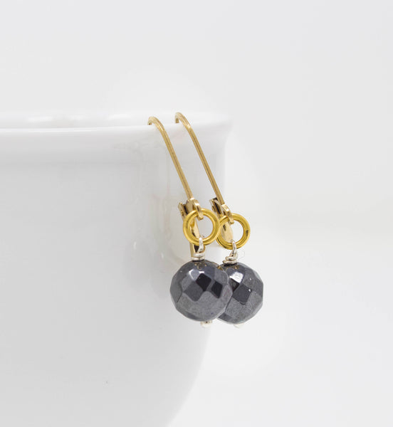 Mixed Metal Earrings - Hematite and Gold FIlled Leverback Earrings - Gray Stone Beaded Earrings
