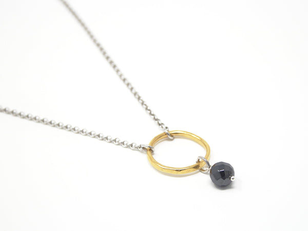 "Mixed Metal Necklace - Minimalist Necklace - Circle Pendant - Hematite and Sterling Silver Chain - 18"" Length - Jacaranda"