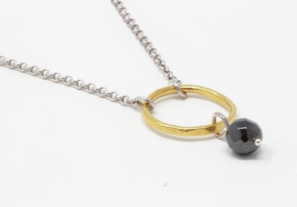 "Mixed Metal Necklace - Minimalist Necklace - Circle Pendant - Hematite and Sterling Silver Chain - 18"" Length"
