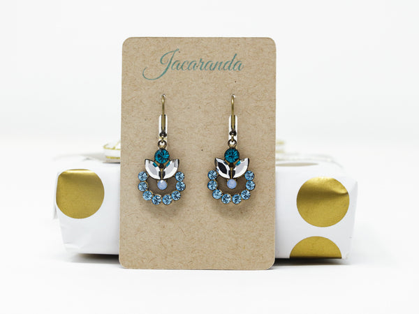 Blue Vintage Crystal Earrings -  Swarovski Earrings - Teal Blue, Sky Blue and Clear - Jacaranda