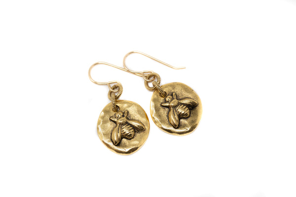 Gold Bee Dangle Earrings - Jacaranda