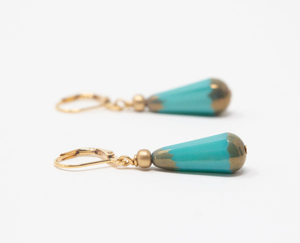 Opaque Turquoise Teardrop Earrings - Leverback Earrings - Mothers Day Gift From Daughter - Jacaranda