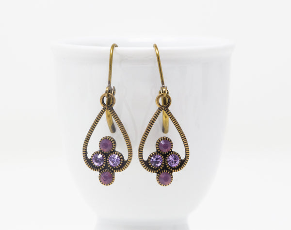 Art Deco Earrings - Vintage Swarovski Earrings -  Purple Crystal Earrings - Jacaranda