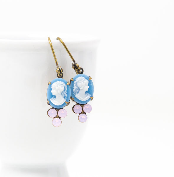 Blue Cameo Earrings With Pale Pink Jewels - Jacaranda