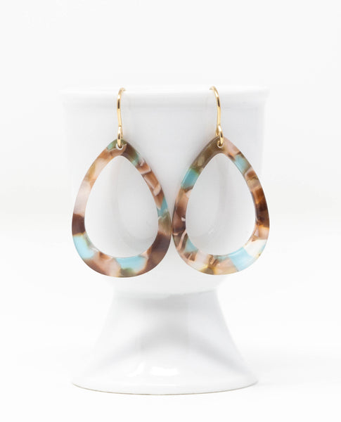 Turquoise and Brown Open Teardrop Earrings in Resin - Jacaranda