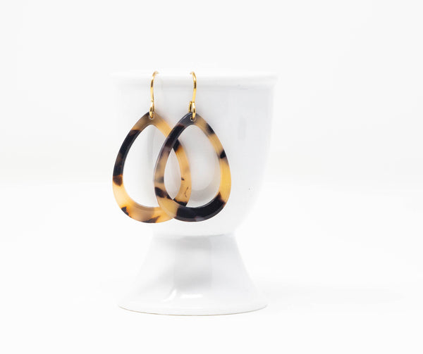 Brown Tortoiseshell Open Teardrop Earrings - Jacaranda