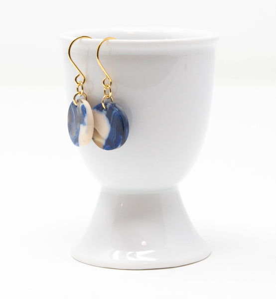 Small Blue Resin Disc Earrings - Jacaranda