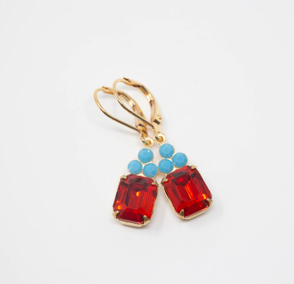 Red and Turquoise Blue Earrings - Rectangular Rhinestone Earrings - Leveback Drop Earrings - Jacaranda