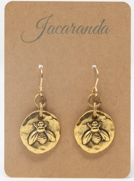 Gold Bee Necklace and Matching Earrings Gift Set - Jacaranda