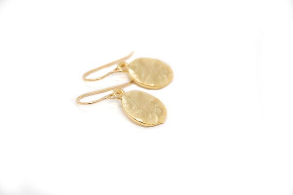 Simple Oval Gold Earrings - Hammered Earrings - Everyday Jewelry For Her - Jacaranda