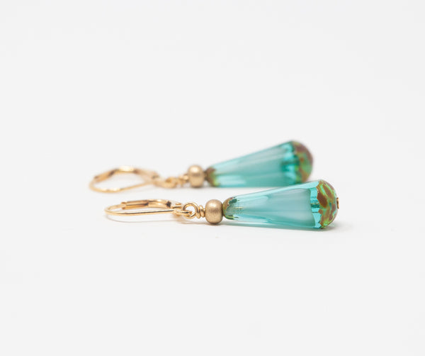 Turquoise Teardrop Earrings - Leverback Earrings - Mothers Day Gift From Daughter - Jacaranda