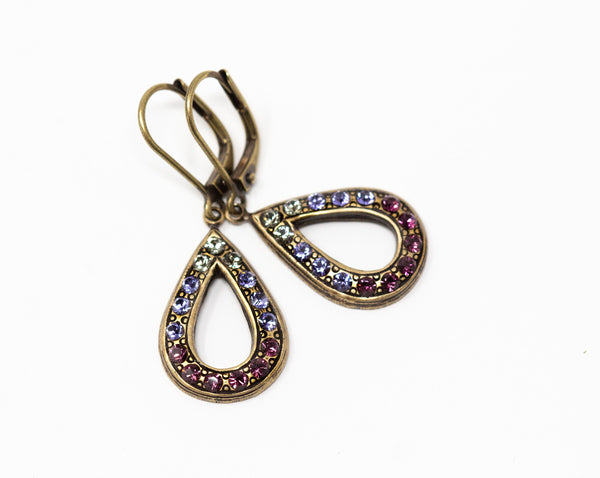 Crystal Teardrop Earrings - Purple Art Deco Earrings - Leverback Earrings - Gift for Mother from Daughter - Jacaranda