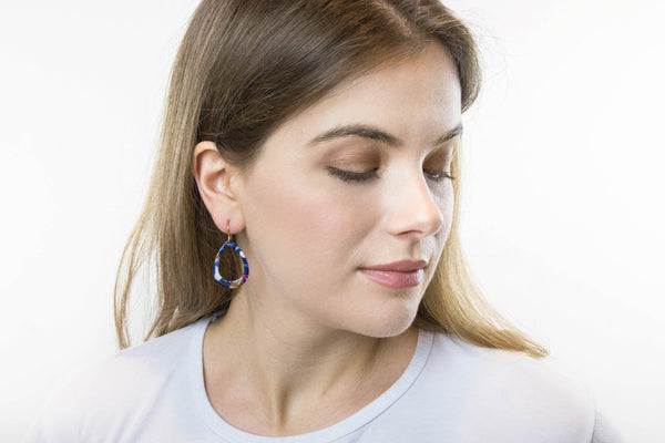 Large Blue Resin Open Teardrop Earrings - Jacaranda