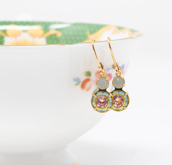 Vintage Swarovski Crystal Earrings - Pink and Mint Green Drop Earrings - leverback Earrings - Jacaranda