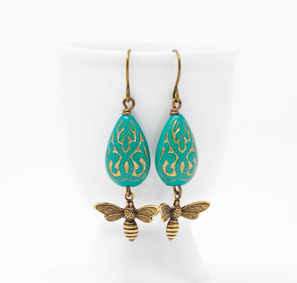 Turquoise Green Bee Dangle Earrings