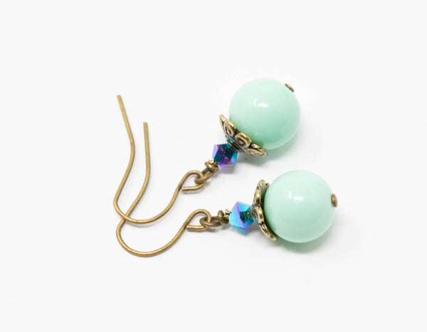 Mint Green Earrings, Beaded Drop Earrings, Crystal Earrings, Pastel Earrings