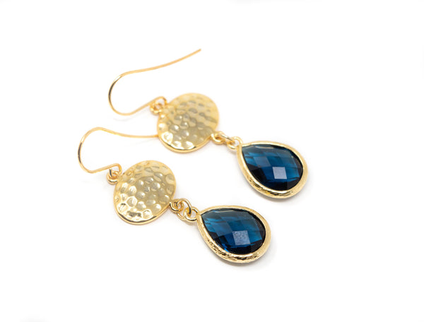 Navy Blue Glass and Hammered Gold Earrings