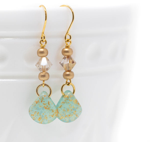 Mint Green Gold Earrings With Swarovski Crystals