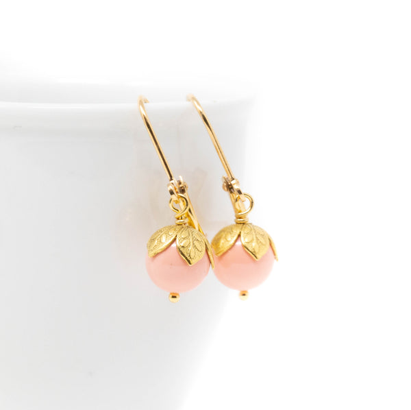 Small Peach Beaded Drop Earrings