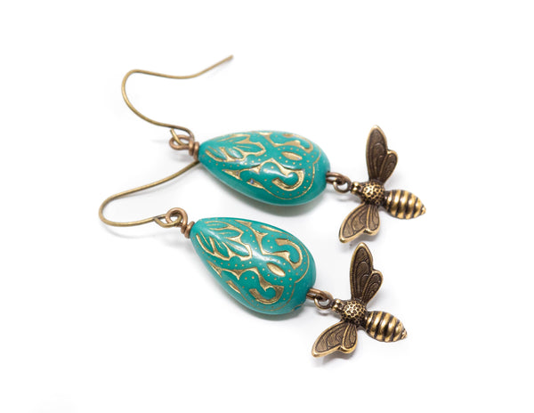 Honey Bee Earrings, Turquoise Green Dangle Earrings, Boho Bee Earrings, Beaded Bee Earrings
