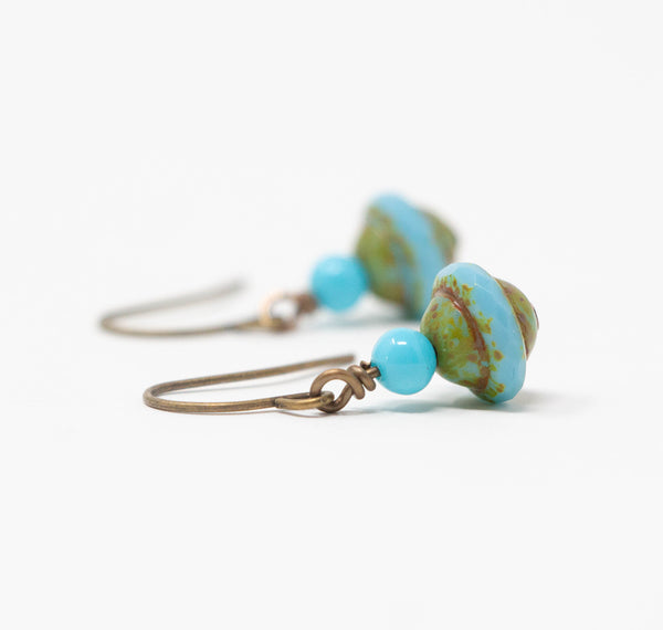 Small Rustic Turquoise Earrings