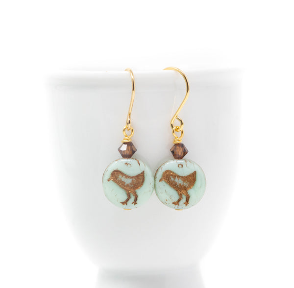Mint Green Bird Earrings