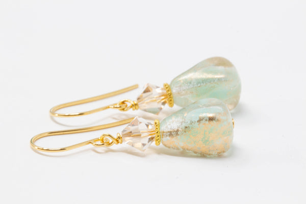 Mint Green Gold Earrings