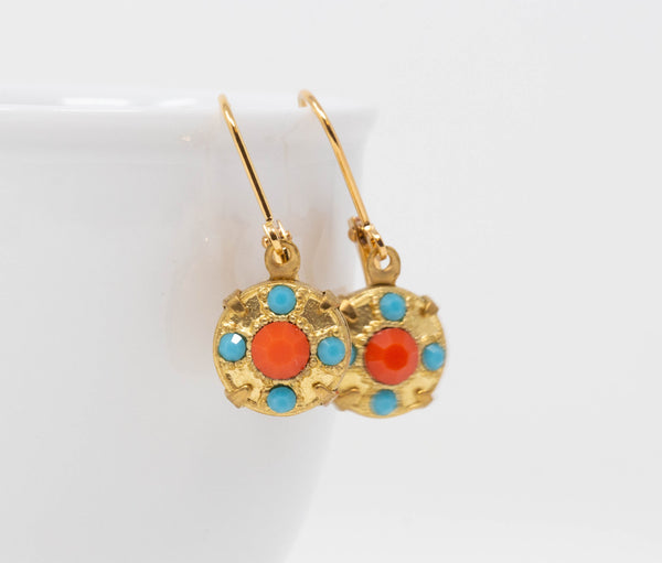 Orange and Turquoise Vintage Crystal Dangle Earrings