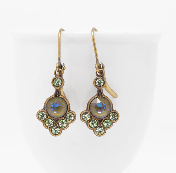 Green and Grey Crystal Art Nouveau Earrings