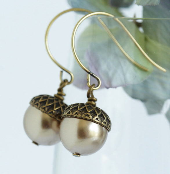 Acorn Earrings,Pale Bronze Pearl Acorn Earrings - Dangle Earrings - Rustic Earrings - Nature Earrings - Brass Acorns - Gift For Mom - Jacaranda