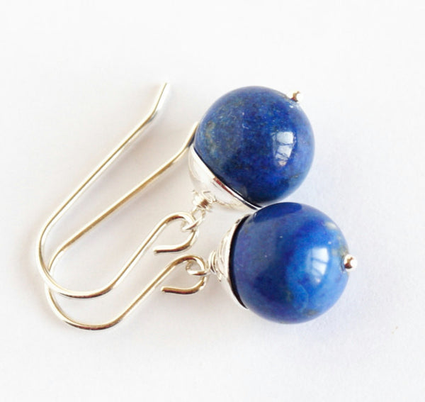Lapis Earrings - Deep Blue Lapis and Sterling Silver Earrings - Stunning Simplicity - Dangle Earrings - Gift For Woman - Jacaranda