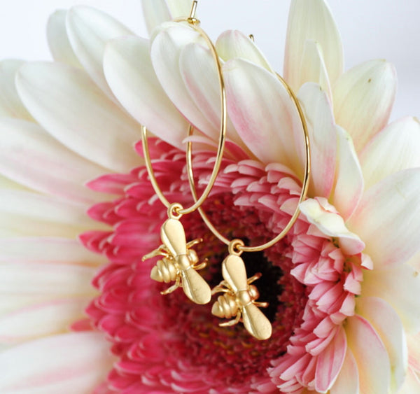 Gold Hoop Bee Earrings - Jacaranda