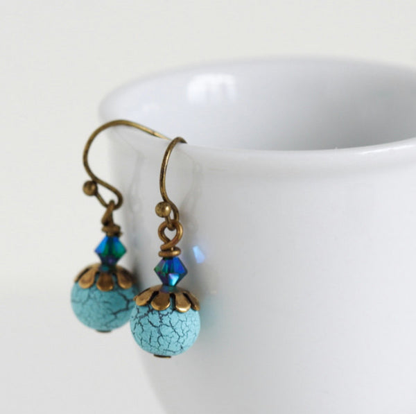 Birds Egg Earrings - Turquoise Earrings - Turquoise Crackle Egg Earrings - Swarovski Crystal -  Beaded Earrings - Gift For Woman - Jacaranda