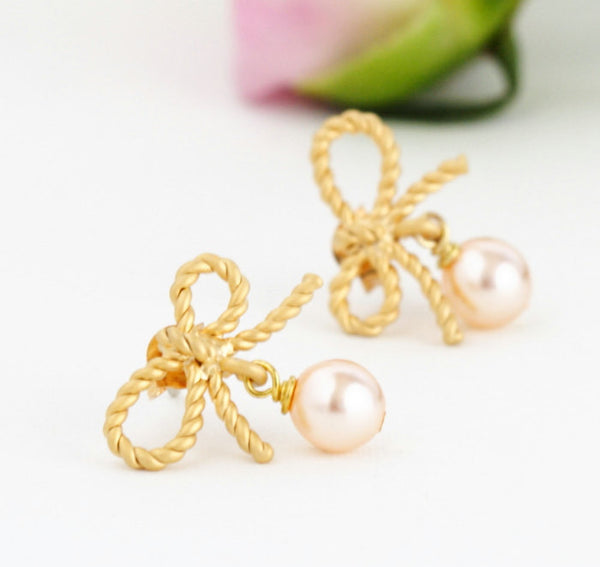 Wedding Earrings - Blush Gold Earrings - Gold Bow Earrings - Pearl Earrings - Bridal Earrings - Bridesmaids Gifts - Gift For Woman - Jacaranda
